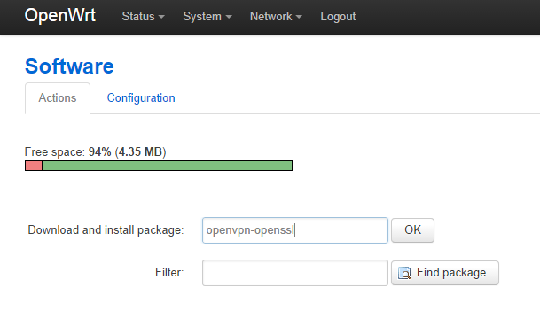 Installing openvpn package