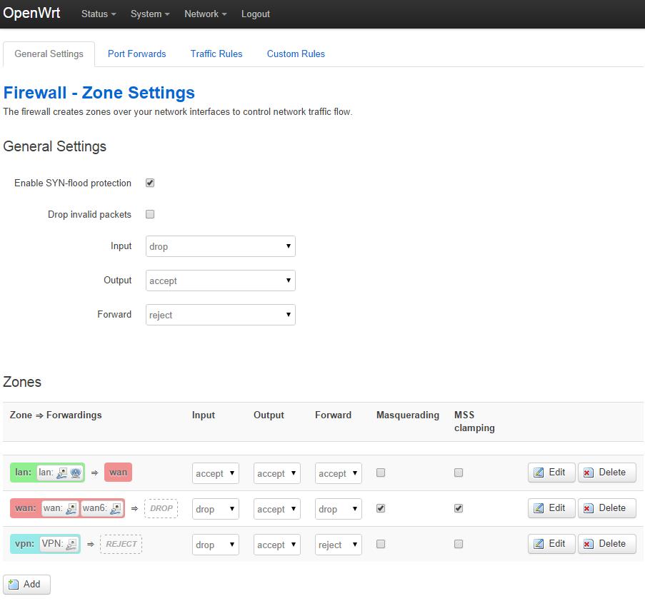 Firewall zone settings