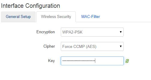 Wireless security setup