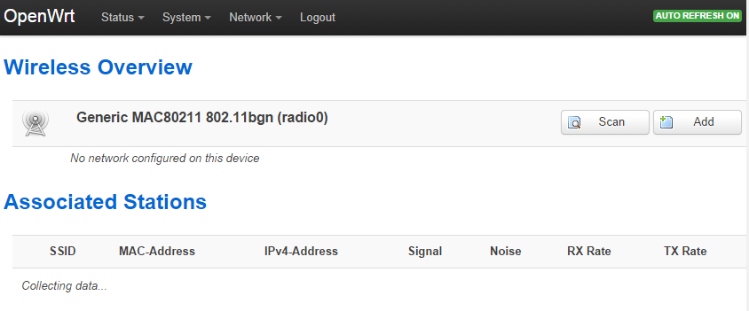Wireless overview page