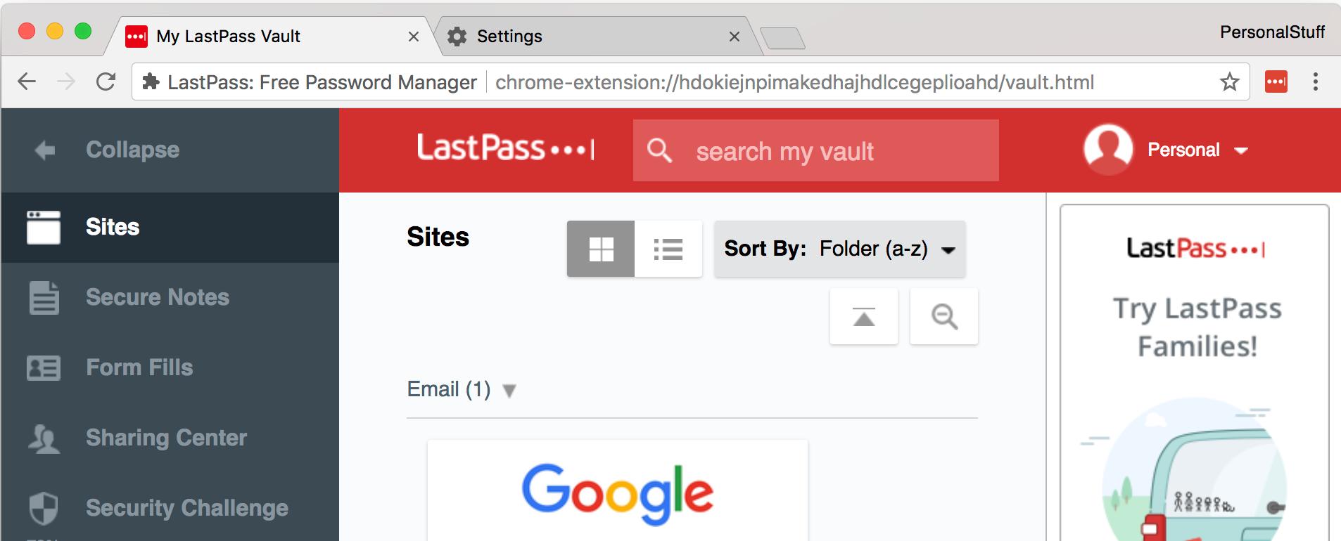 LastPass vault using personal identity
